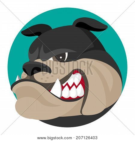Angry bulldog face profile view vector realistic illustration. Head of grown up canin medium-sized breed with wrinkled face and evil tooth smile logo design