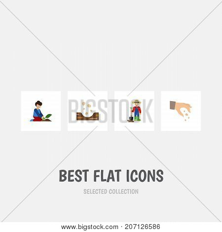 Flat Icon Plant Set Of Sow, Man, Seed And Other Vector Objects