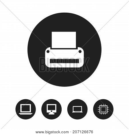 Set Of 5 Editable Notebook Icons. Includes Symbols Such As Display, Printing Machine, Motherboard And More
