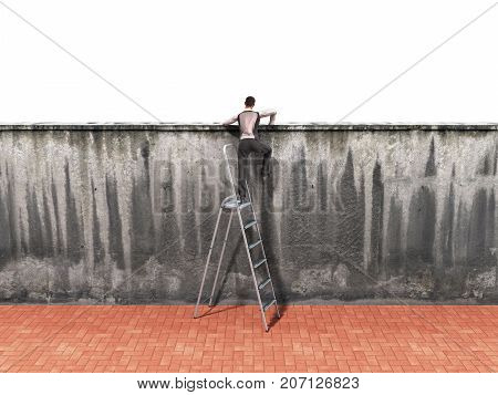 The Concept Of The Pursuit Of Success A Man Will Climb A Wall Along A Ladder 3D Render
