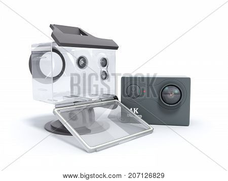 Camera Action Cam 3D Render On A White Background