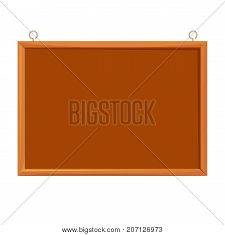 Bulletin board realistic vector illustration isolated on white. Brown school blackboard hanging on wall, billboard for announcements