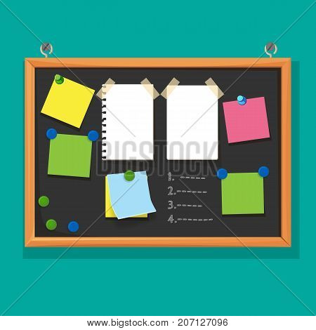Bulletin board with paper notes on pins and do list on black corkboard vector illustration isolated on green background, billboard with memories