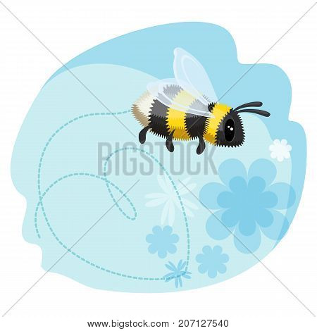 Cute bumblebee leaves trace in shape of heart on blue background with flowers vector illustration. Greeting card design with place for text
