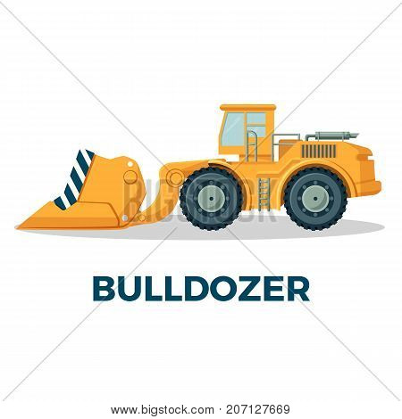 Bulldozer crawler tracked tractor equipped with substantial metal plate known as blade used to push large quantities of soil, sand, rubble vector illustration
