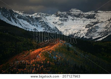 Mtn Sneffels outside Telluride with fresh snow, fall colors