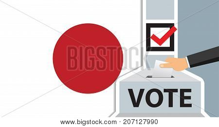 Voting. hand putting paper in the ballot box. Japan flag on background. vector illustration.