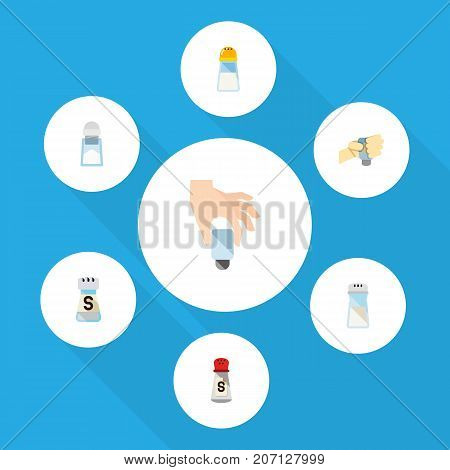 Flat Icon Sodium Set Of Spicy, Salt, Sodium And Other Vector Objects