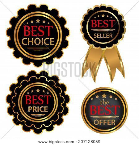Collection four vector badges Best choice Best offer Bestseller Best price. Vector illustration.