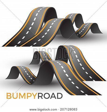 Bumpy road icon uneven dangerous wave path with marking vector illustration isolated on white background. Roadsign warning about hazard way up and down