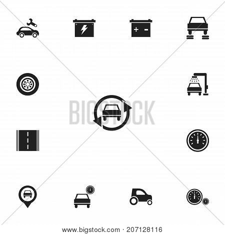 Set Of 13 Editable Vehicle Icons. Includes Symbols Such As Tire, Odometer, Automobile And More