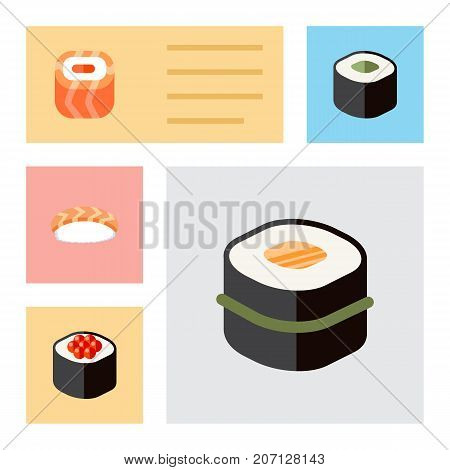 Flat Icon Maki Set Of Japanese Food, Seafood, Salmon Rolls And Other Vector Objects