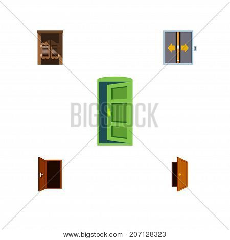 Flat Icon Door Set Of Frame, Entry, Approach And Other Vector Objects