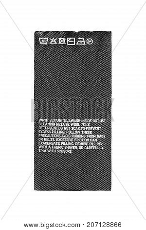 Washing instructions textile clothes label isolated over white