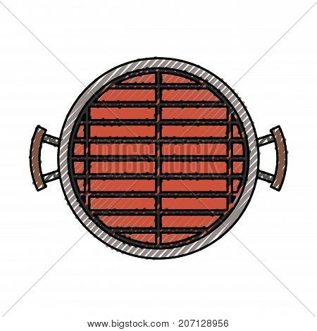 bbq grill top view colored crayon silhouette vector illustration