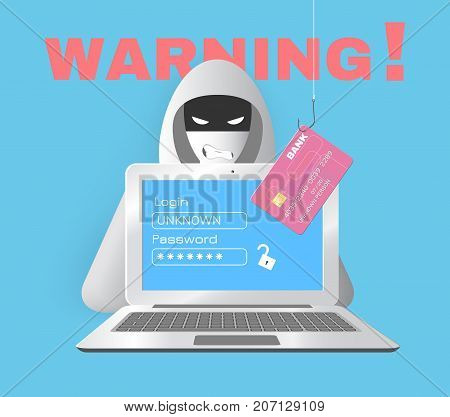 Cyber security and crime concept. Vector illustration. Including hacker, laptop, credit card on a fishing hook, and warning inscription. Used clipping masks.