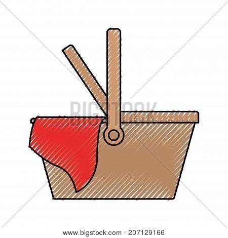 picnic basket icon colored crayon silhouette vector illustration