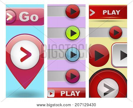 UI interface button cards design play media internet website element online player approved mark click icon vector illustration. Accept success vote checkmark.
