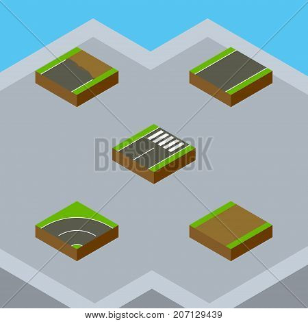 Isometric Road Set Of Footpath, Unfinished, Bitumen And Other Vector Objects