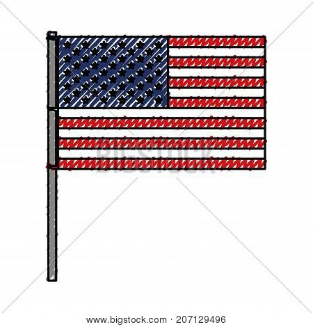 united states flag with pole in colored crayon silhouette vector illustration