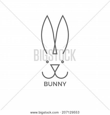 Bunny logo design simple line vector illustration isolated on white background. Logotype of cute hare or rabbit head with big ears