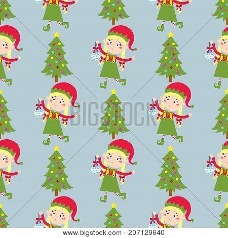 Santa Claus kids cartoon elf helpers vector illustration children elves characters traditional costume.
