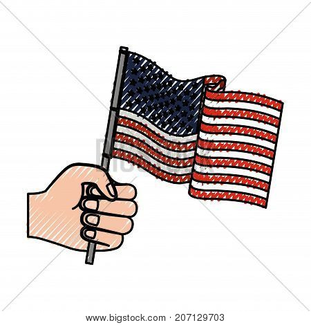 hand holding united states waving flag colored crayon silhouette vector illustration