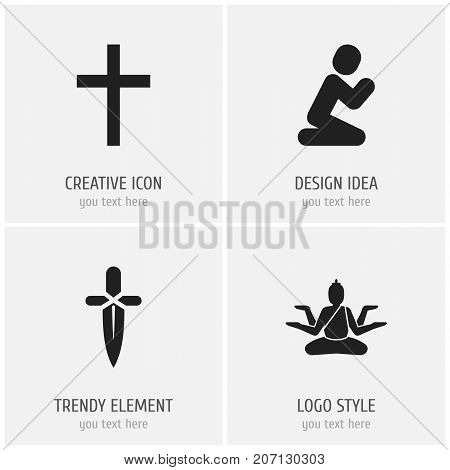 Set Of 4 Editable Dyne Icons. Includes Symbols Such As Orison, Crucifix, Poniard And More