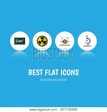 Flat Icon Science Set Of Electrical Engine, Glass, Theory Of Relativity And Other Vector Objects