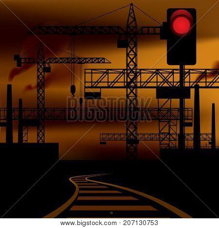 Industrial sunset landscape background with railway, black silhouette of tower cranes, metallic constructions, and semaphore red signal