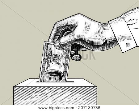 Hand putting 100 dollars bill in the box. Money donation retro concept. Vintage engraving stylized color drawing