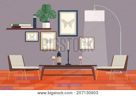 Cool graphic living room interior design with furniture bookcase table lamps. Home Modern Apartment Design Flat Vector Illustration