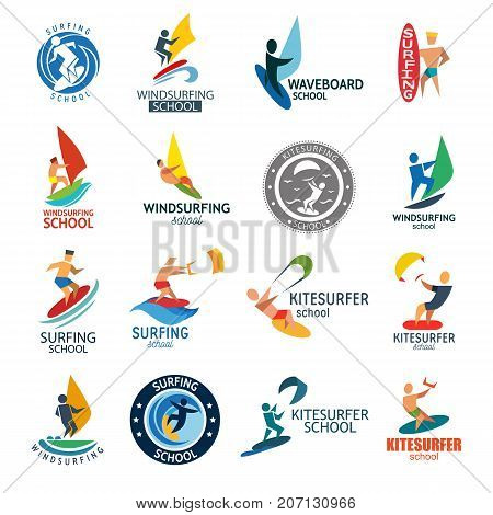Kite surfing windserfing water sport club logo board sea summer wave wind badge vector illustration. Kitesurfing extreme symbol with people silhouette.