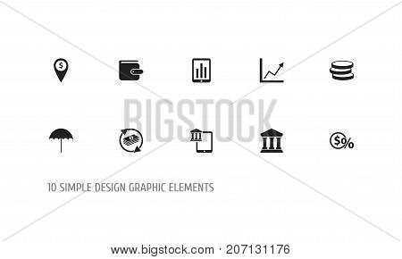 Set Of 10 Editable Finance Icons. Includes Symbols Such As Market, Greenback, Insurance And More