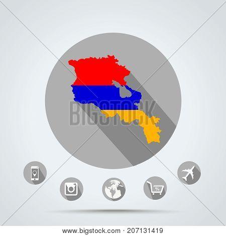 Set of Armenia Quality icons eps 10 ( Country icons Media icons Money icons Camera icons Mobile icons Police icons Web icons Globe icons )