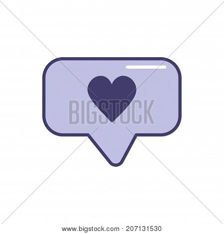 chat bubble with heart design inside vector illustration