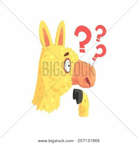 Funny puzzled lama character, cute alpaca animal cartoon vector Illustration on a white background