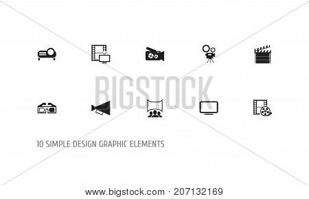Set Of 10 Editable Cinema Icons. Includes Symbols Such As Display Unit, Presentation, Movie Camera And More