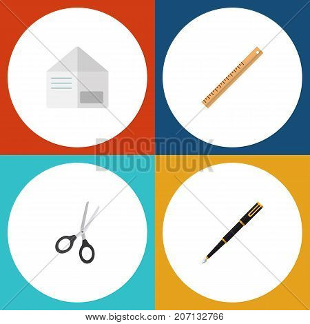 Flat Icon Tool Set Of Nib Pen, Straightedge, Clippers And Other Vector Objects
