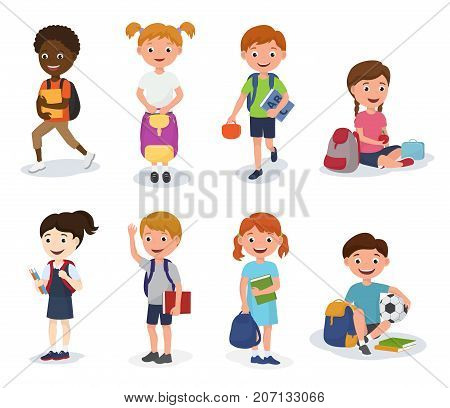 Group of school kids boys and girls children with school bags vector illustration