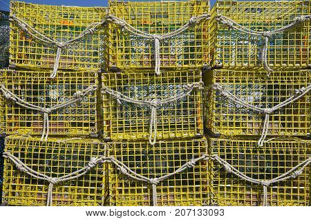 stack of lobster traps. background of lobster pots