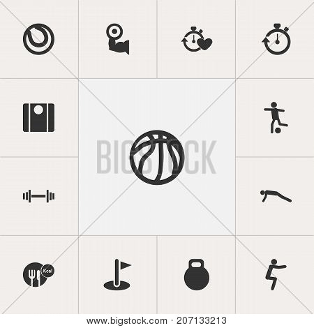 Set Of 13 Editable Fitness Icons. Includes Symbols Such As Football, Physical Education, Basket Play And More