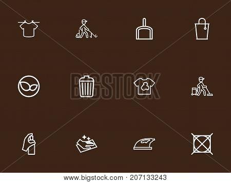 Set Of 12 Editable Hygiene Outline Icons. Includes Symbols Such As Scoop, Bucket, Dirty Clothes And More