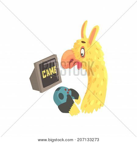 Funny llama character playing computer games, cute alpaca animal cartoon vector Illustration on a white background