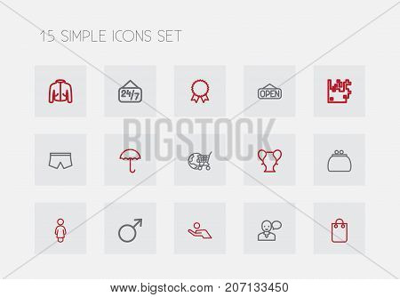Set Of 15 Editable Trade Outline Icons. Includes Symbols Such As Lady, Profit, Speaking Man And More