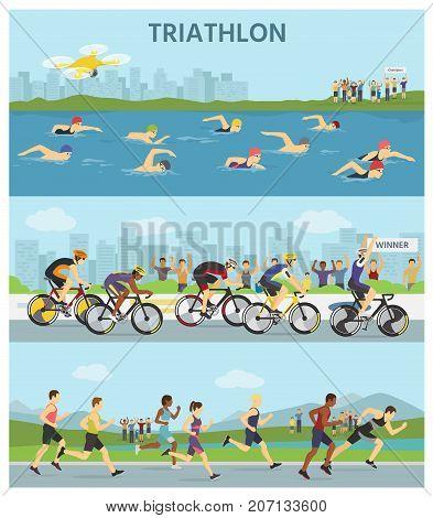 Triathlon marathon sport competition race infographic vector illustration sportsmen people on bike, run, swim vector illustration.