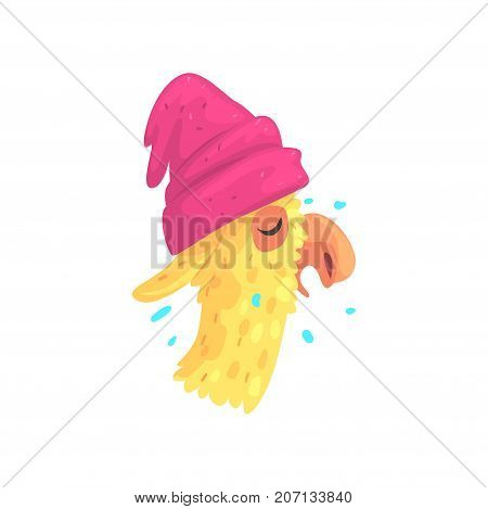 Funny llama character in pink hat, cute alpaca animal cartoon vector Illustration on a white background