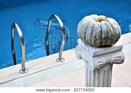 Autumn concept. Pool party. Party in the pool. Halloween. Pumpkin near the pool. Gray pumpkin and blue water. Pumpkin party. Pumpkin decoration in garden