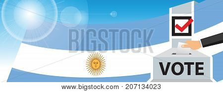 Voting. hand putting paper in the ballot box. Argentina flag on sky background. vector illustration.