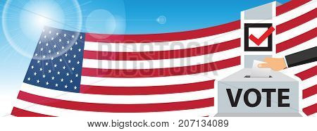 America voting. hand putting paper in the ballot box. USA flag on sky background. vector illustration.